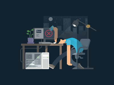 Frustrated night pc gamer simple clean figma illustraion