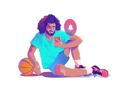 Alerts gradients notification alert basketball illustration