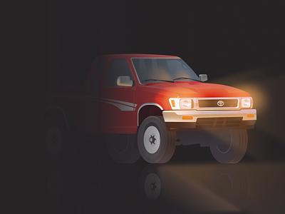 Tacoma Dark Mode night dark illustration truck car tacoma toyota
