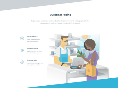 Customer at Store clean simple payjunction illustration terminal customer