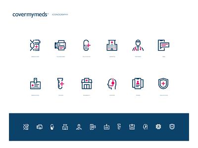 CoverMyMeds Iconography illustration hospital doctor phone pills medical figma iconset iconography icons