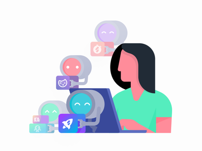 Skup Illustration automated robots person people illustration