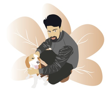 A human with dog illustration