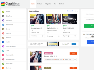 Best Classified WordPress Theme in usa business online classified footer images custom blog