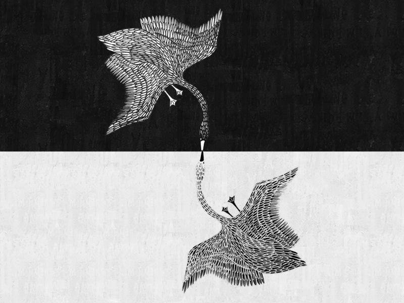 eternal romance swan illustration swans balance hand drawn