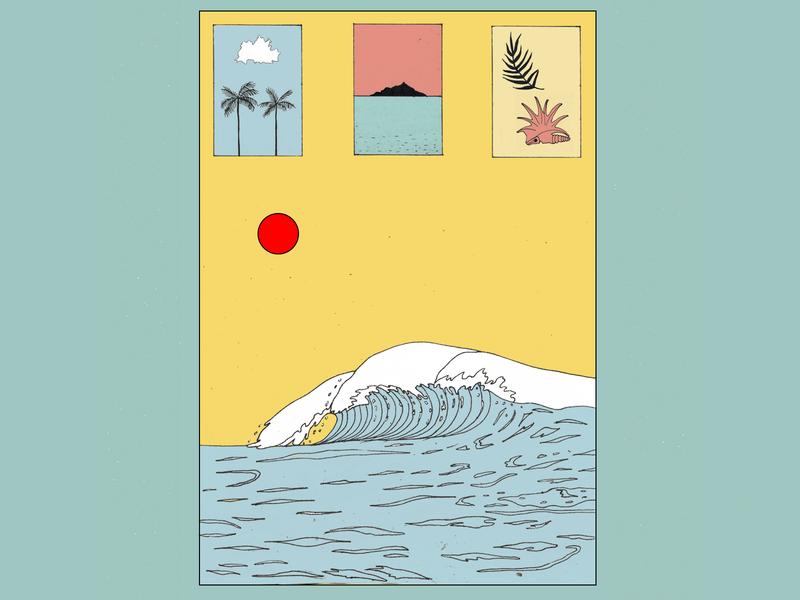 worship the sun ocean salt shell palmtrees island surfing sun wave linework illustration