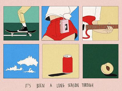 peach pit guitar skateboard walkman body peach cloud coke simple illustration poster