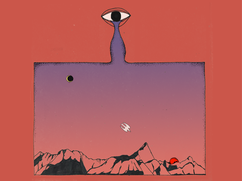 nostalgia nostalgic psychodelic ozora eye music gradient mountain bird texture artwork illustration