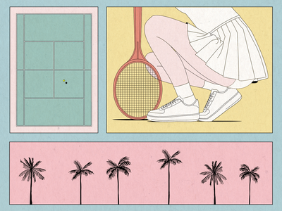 miami  beach vintage collage body girl miami beach miami vice miami tennis ball texture palmtrees illustration