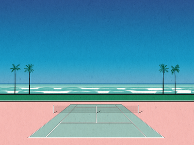 tennis court ocean pastel perspective landscape tennis palm beach illustration