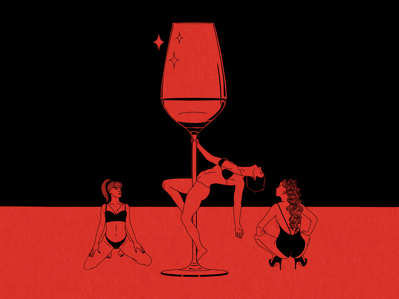 red wine pole artwork female sexy simple wine glass wine dancers stripper body feminine illustration
