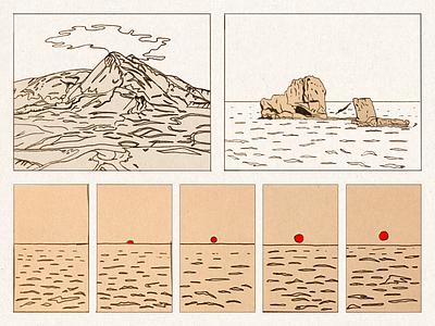 terra siciliana mare seaside italy siracusa sicily sea handdrawn volcano etna linework illustration