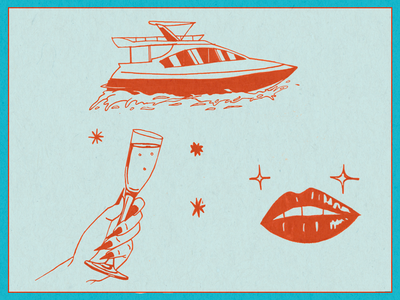 selected inktober works 2 illustration lips fancy champagne ship