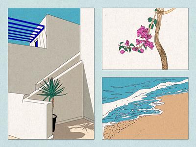 island in the sun beach palm flowers paros greece sun collage illustration building sea island memories
