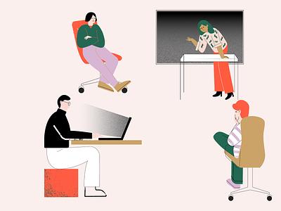 team meeting corporate web branding illustration