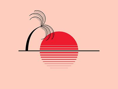 33 degrees sunset simple minimalism linework illustraion thailand island palm sun