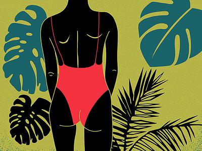 j u n g l thailand swimmingsuite illustration girl pattern plants jungle