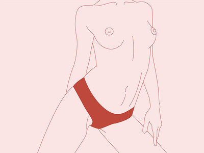 Ophelia fragile femme female linework nude illustration body woman