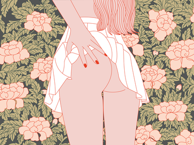 cheeky blossom pattern flowers blossom vector pink nude feminine illustration