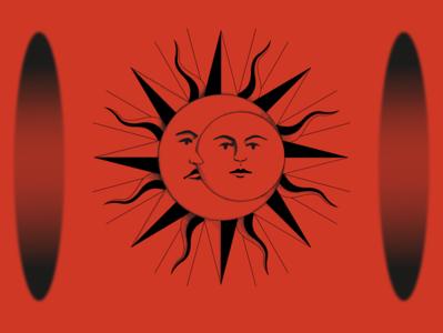 lovers vector illustration symbolic leap quantum pagan moon sun vector