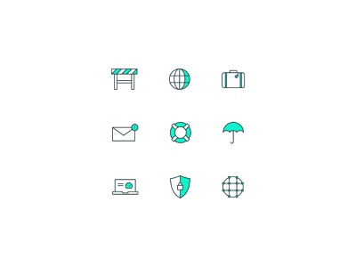 Meraki Go Icons network email construction sign suitcase internet life ring shield laptop umbrella icon