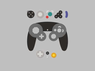 GameCube Controller Illustration flat illustration nintendo gamecube