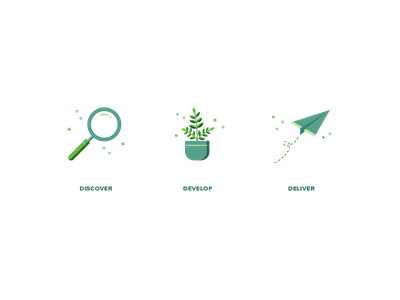 Managed Services Playbook Icons flat illustration deliver develop discover sparkles growth origami paper airplane plane plant magnifying glass