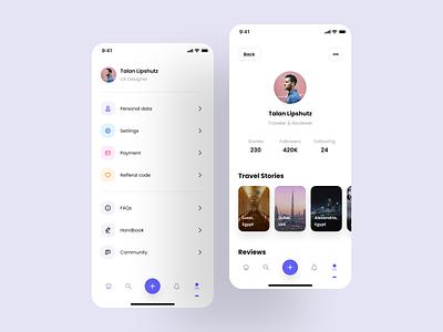 Profile & Settings menu design design system ui ui kit ux interface app chat messanger feed login onboarding startup mobile app design mobile design system mobile app ios app ui design