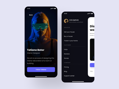 Mobile menu & Full screen profile figma mobile ui mobile ux ios ios app mobile app design design design system app interface ux ui kit ui