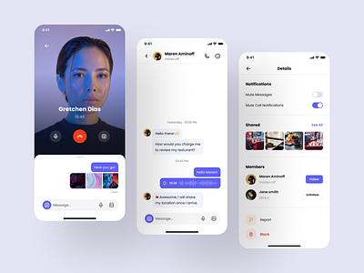 Chat app flow mobile ui audio call video call message chat app mobile design system mobile app ios design design system dashboard app interface ux ui kit ui ui design