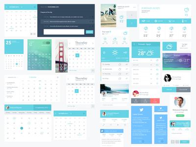 Elixir Widgets calendars tasks twitter tweet profile weather elixir notes widgets ui kit