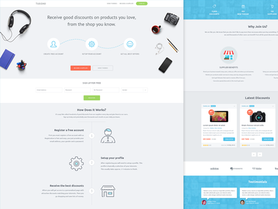Landing Page shopping landing interface light blue layout homepage