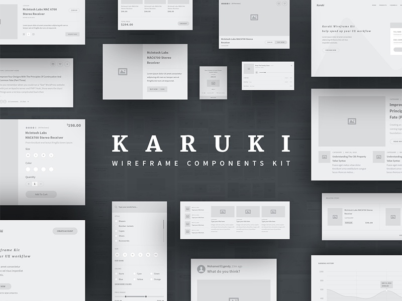 Karuki wireframe kit blog shop sketch illustrator photoshop prototype ux components kit ui kit wireframe