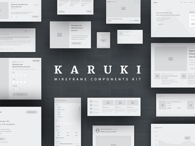 Karuki wireframe kit blog shop sketch illustrator photoshop prototype ux components kit ui kit wireframe