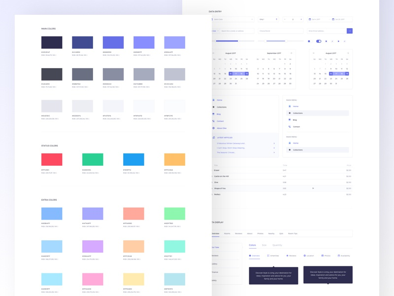 eCommerce kit Style guide icons table menu ui elements dlex ux ui guideline guide design system colors palette