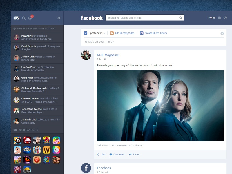 UI Redesign 001 - Facebook: News Feed news feed interface web ui blue redesign facebook