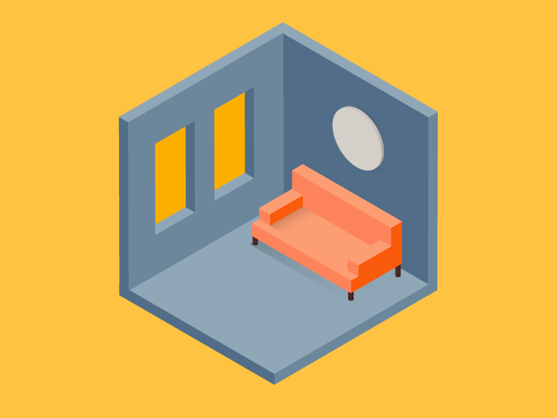 Waiting Room geometric couch room 3d isometric