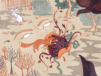 Wild Wood wilderness wildlife hare snake raven fox nature wild book illustration animals editorial illustration digital painting digital illustration illustrator illustration