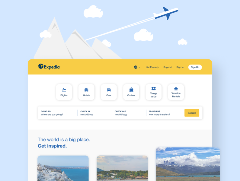 Expedia – Landing Page Concept graphicdesign dribbblers interface inspiration vector minimal clean figma userexperience creative userinterface uxdesign illustration designinpiration uidesign ux uiux ui design dribbble