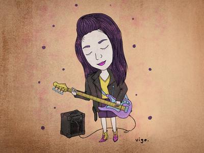 Vigo digital illustration rockgirl girl guitar digital painting illustration
