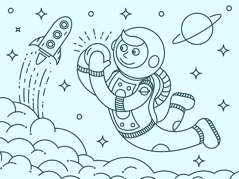 Cosmo art rocket space cosmonaut work line cosmos