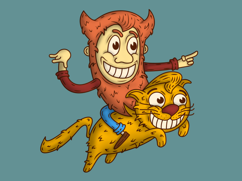 Domovoy & Cat concept cat brownie cartoon illustration character design