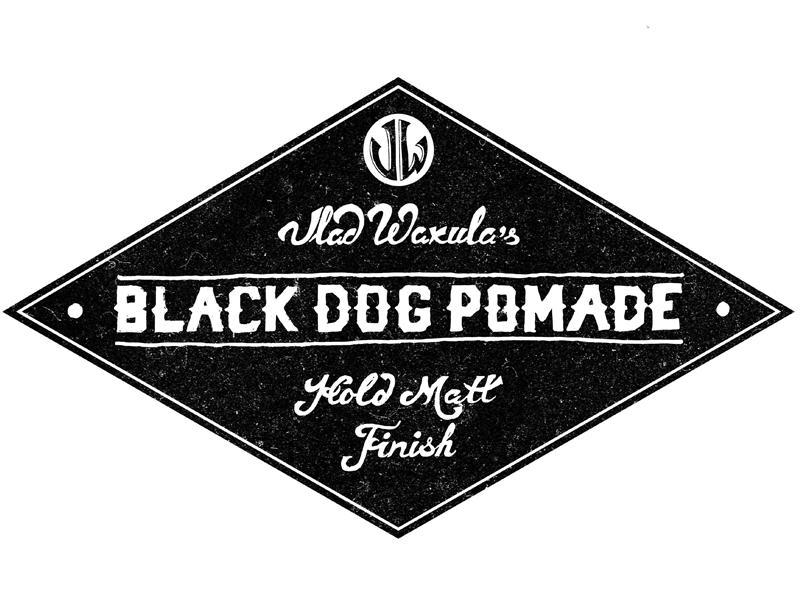 Black Dog Pomade Label lettering label pomade dog black