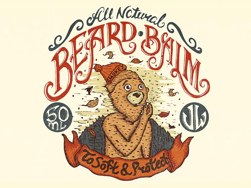Bear Smokey Illustration label illustration lettering balm beard bear