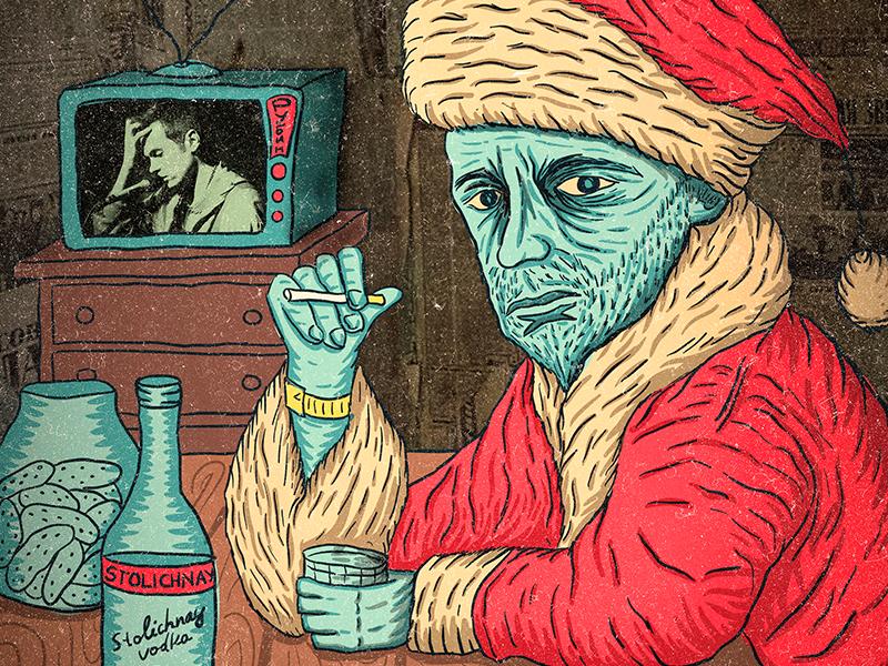 Poster for Chernikovskaya Hata vodka illustration santa christmas year new gig poster