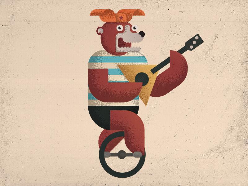 Bear, unicycle, balalaika stereotype russia flaps ear hat illustration balalaika unicycle bear