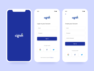 Mobile app Login & Signup UI concept