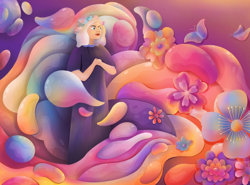 Dreaming flower dreaming fantasy procreate illustration