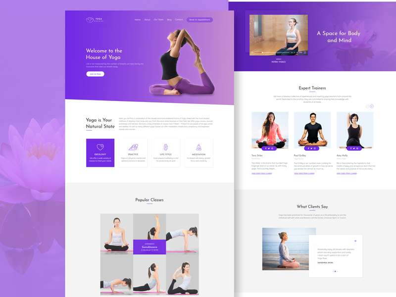 Yoga website webdesign yoga web ux ui design