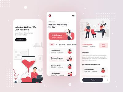 Job Finder App job finder trendy job search proffession mobile ui job illustration app design 2020 trend job app